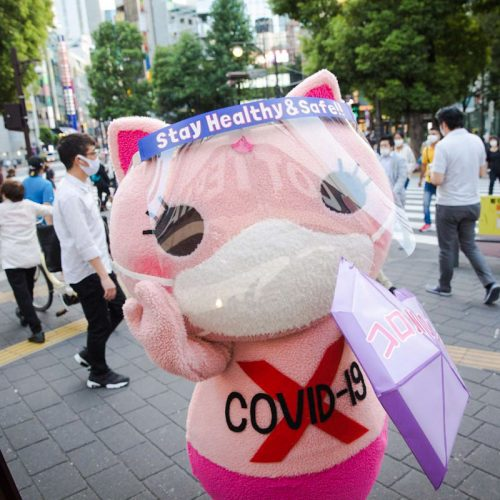 Anti-coronavirus cute cat mascot in Tokyo handing out facemasks and dishing out advice