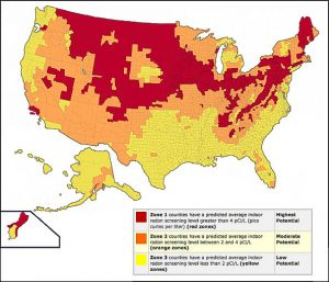 EPA radon gas map of USA