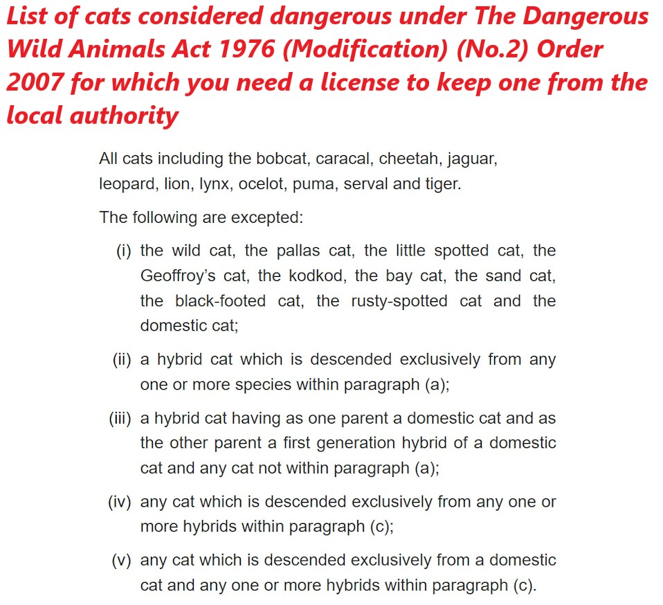 The Dangerous Wild Animals Act 1976 (Modification) (No.2) Order 2007 list of cats considered dangerous in the UK for which you need a license from the local authority