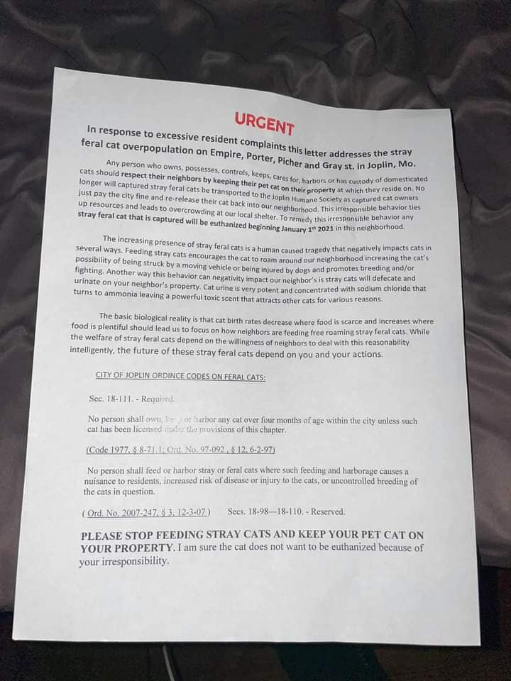Letter threatening to euthanise feral cats in Joplin Mo