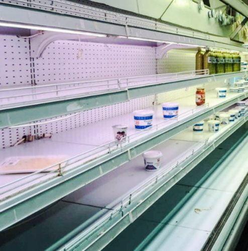 Empty shelves at a supermarket