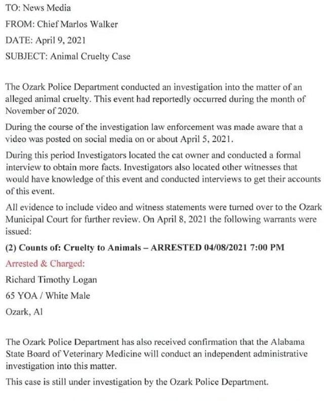 Logan arrest notice from police