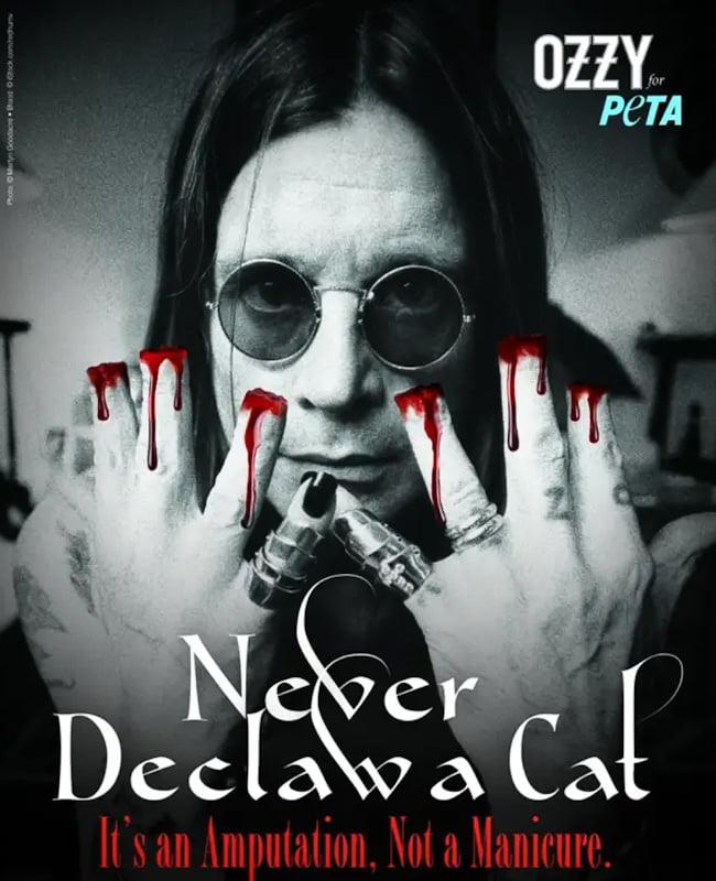 Ozzy Osbourne's anti-declaw poster for PETA
