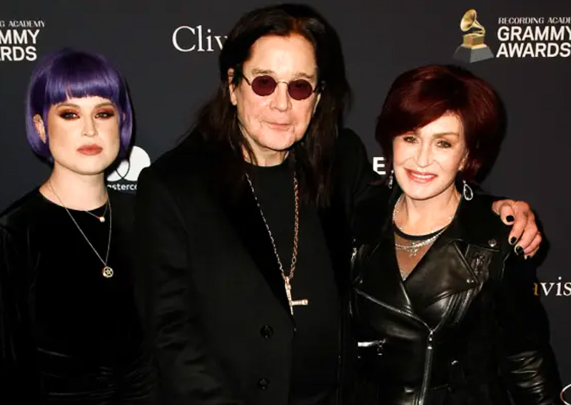 Ozzy Osbourne with daughter Kelly and wife Sharon