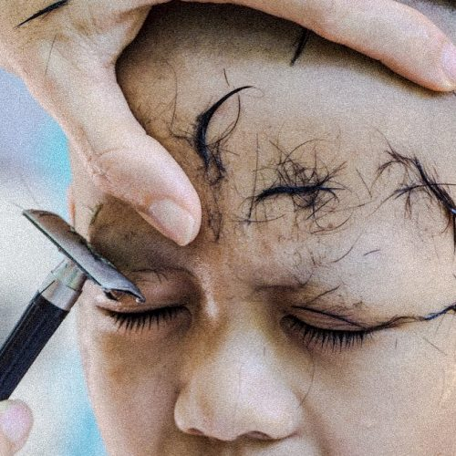 Twitter recreation of shaving eyebrows to mourn the passing of a cat