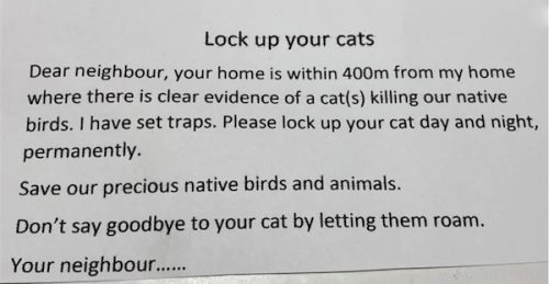 Vigilante letter demanding that residents of a Canberra street lock up their cats or else