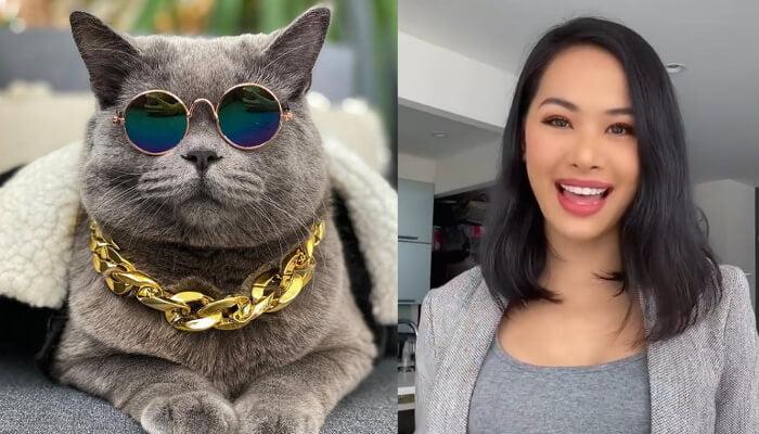 Chef Bao Bao and her cat a blue British SH Ponzu