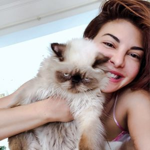 Jacqueline Fernandez and her cat Yoda a Himalayan - pointed Persian