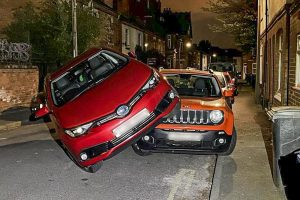 Taxi driver swerves to avod a cat and ends up on top of a parked car