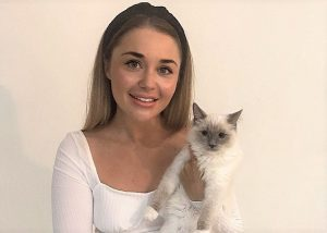Alex Padovano with her pointed cat Penelope who she thinks was killed by AVA cat food bought at Pets at Home