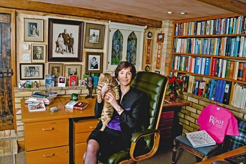 Mary Archer and her cat Sunita in 'my haven' - her study.