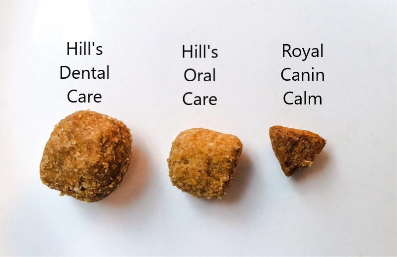 Comparing pellet size of Hill's Oral Care Dental Care and Royal Canin Calm