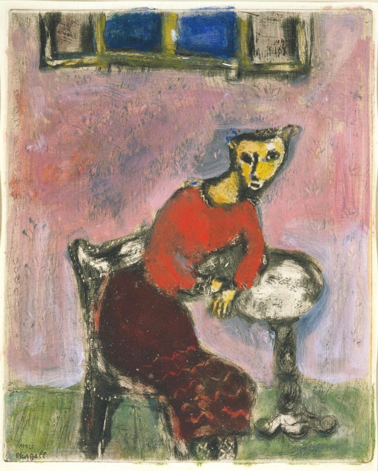 The Cat Transformed into a Woman c.1928-31-1947 by Marc Chagall 1887-1985