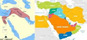 The Fertile Crescent where the domestic cat first occurred compared to a map of the same are 2021