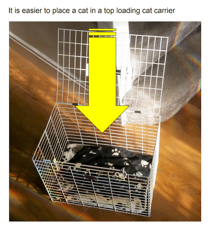 Top loading cat carriers are more effective