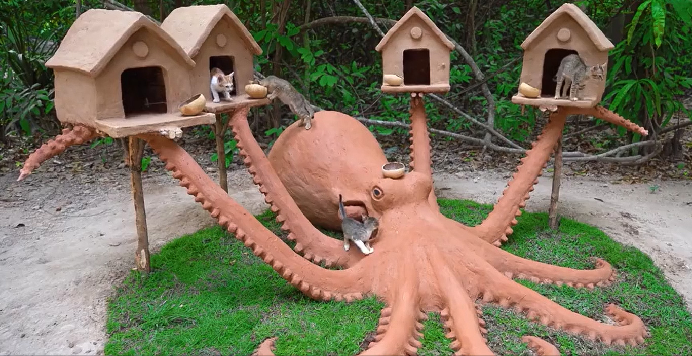 Cambodian builds kitten playground from natural products and no nails or screws