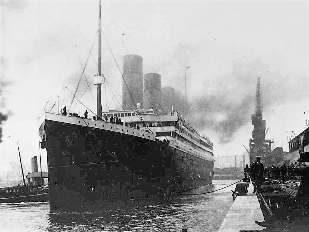 Titanic at port presumed to be Southampton