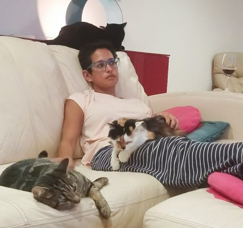 Naga Munchetty and her three cats 2021