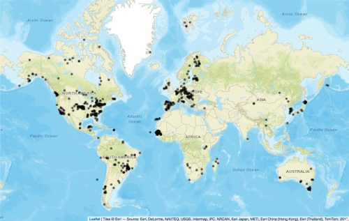 Map showing where T. gondii is most prevalent in wild animals