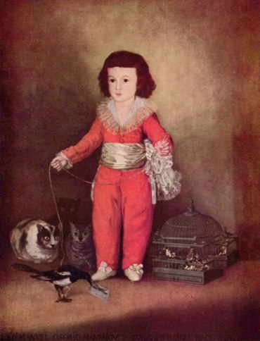 boy with cats painting
