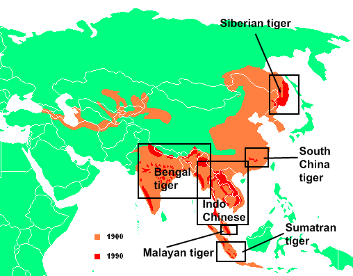map depecting the habitats of different species of tigers