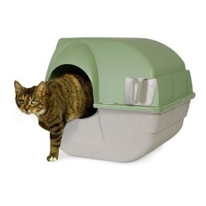 Omega Paw Self-Cleaning Litter Box, Green and Beige  - photo reproduced under fair use. I recommend this automatic litter box.