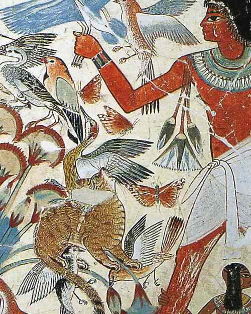 Cat catching birds in a painting from the tomb of Nebamun 1400 BC