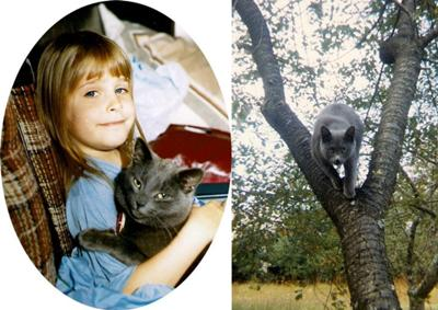 Laura and Smokey and Smokey in her tree