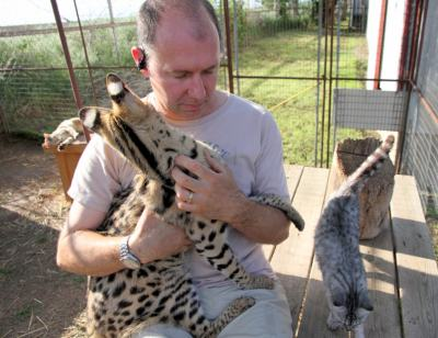 Martin Stucki and tame serval